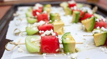 Avocado Watermelon & Tomatillo Skewers with Jalepeno Honey Lime Vinaigrette