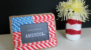 Patriotic Paper Straw Picture Frame