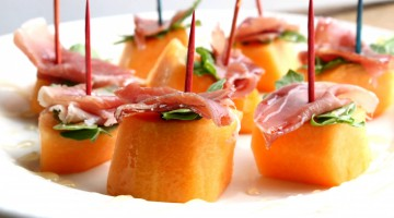 Melon, Prosciutto, Arugula & Honey Bites