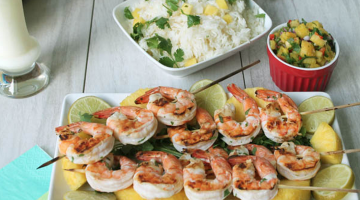 Pina Colada Shrimp with Pineapple Salsa