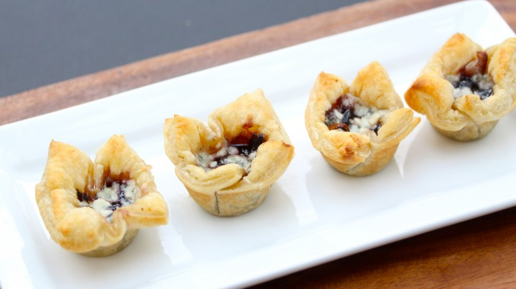 Caramelized Onion, Blackberry, Blue Cheese Puffs
